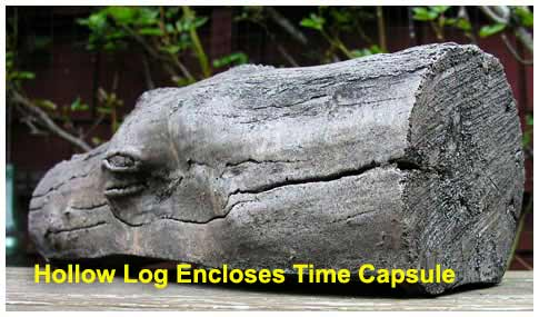 Selecting Your Time Capsule: The hollow log Geocapsule conceals a larger capsule for a longer time period.